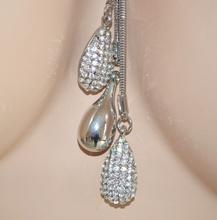 Collana donna lunga argento ciondoli  gocce strass sexy elegante cerimonia collar 125