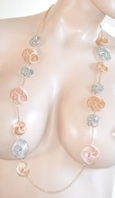 COLLANA donna LUNGA elegante ARGENTO ORO ROSATO catena girocollo da cerimonia collier E22