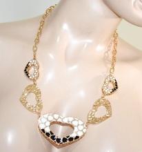 COLLANA girocollo oro dorata donna CUORI bianchi neri ciondoli san valentino G25