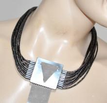 COLLANA GRIGIO ARGENTO donna etnica lunga fili girocollo collarino collier necklace BB34