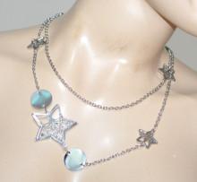 COLLANA LUNGA donna argento ciondoli stelle medagline catenina elegante BB26