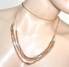 COLLANA LUNGA donna argento oro rosa dorato multi fili collier girocollo GP16