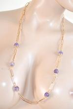 COLLANA LUNGA donna ORO VIOLA AMETISTA cristalli strass collier elegante da cerimonia E68