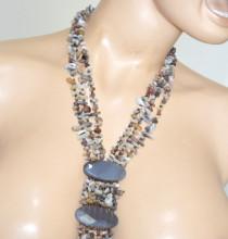 COLLANA LUNGA donna PIETRE DURE donna Grigio Glicine Sabbia fili collier collar long necklace P30
