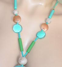 COLLANA LUNGA donna pietre Verde Acquamarina sabbia fili ciondoli oro dorati necklace Halskette S89