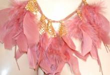 COLLANA ORO ROSA donna girocollo multi fili ciondoli dorati piume collare collier S10