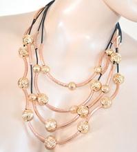 COLLANA ORO ROSA girocollo donna elegante multi fili nero da cerimonia sexy collier 25X