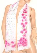 Coprispalle FOULARD donna STOLA  sera vestito CERIMONIA elegante bianco/fucsia fantasia floreale 130M