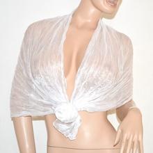 Coprispalle foulard maxi stola donna seta bianca cerimonia matrimonio tinta unita elegante metallizzato 115C