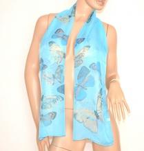 FOULARD COPRISPALLE donna SCIARPA seta STOLA AZZURRA da cerimonia ELEGANTE velata scarf 650B