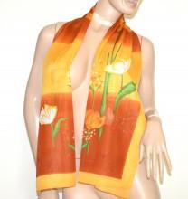 FOULARD donna  GIALLO MARRONE BRONZO 40% seta sciarpetta fantasia stola velata coprispalle G38