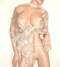 FOULARD STOLA BEIGE 30% seta donna velata ricamata scialle coprispalle velo G40