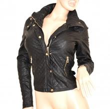 GIUBBINO NERO giacca donna PELLE giacchino sexy giubbotto ecopelle jacket jacke 100