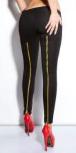 LEGGINGS NERO donna pantalone ZIP ORO sexy skinny pantacollant fuseaux AZ45