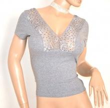 MAGLIA donna GRIGIO maglietta mezza manica corta sottogiacca sexy scollatura strass pizzo E140