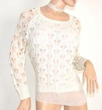 MAGLIA FILO BIANCA donna manica lunga maglietta maglione maglioncino F5