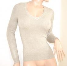 MAGLIETTA  BEIGE maglia donna sottogiacca scollo a V a punta manica lunga E20