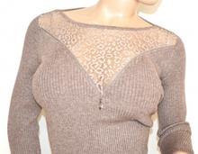 MAGLIETTA BEIGE TORTORA donna maglione maglia sottogiacca manica lunga velata sexy F80