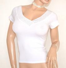 MAGLIETTA BIANCA donna maglia sottogiacca mezza manica corta scollo V strass E145