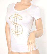 MAGLIETTA BIANCA donna manica corta t-shirt maglia sottogiacca cotone oro 5N