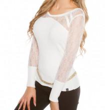 MAGLIETTA BIANCA donna sottogiacca manica lunga ricamata maglia maglione pullover AZ1
