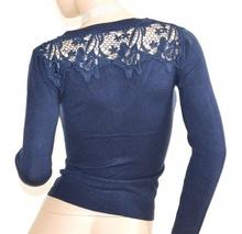 MAGLIETTA BLU cardigan donna  strass maglia  ricamata maglione sottogiacca F115