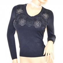 MAGLIETTA BLU donna maglia manica lunga strass sottogiacca ricamata maglione F90