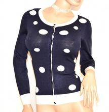 MAGLIETTA blu pois bianchi donna cardigan golfino sottogiacca maglia manica lunga bottoni F70