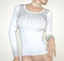 MAGLIETTA donna BIANCA maglia manica lunga sottogiacca elegante girocollo maglioncino A15