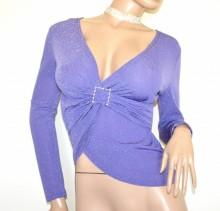 MAGLIETTA donna lilla glicine maglia incrociata maniche lunghe sottogiacca G99