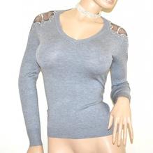 MAGLIETTA GRIGIO donna manica lunga velo maglia sottogiacca maglione strass A19