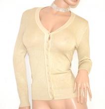 MAGLIETTA maglia donna BEIGE cardigan bottoni maniche lunghe tinta unita maglione sottogiacca lana 130