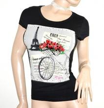 MAGLIETTA NERA donna t-shirt maglia manica corta cotone sottogiacca strass G18
