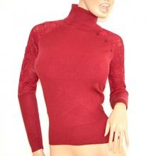 MAGLIETTA ROSSA donna sottogiacca collo alto manica lunga maglia  ricamata F100