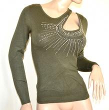 MAGLIETTA VERDE donna manica lunga maglia sottogiacca maglione strass elegante A5