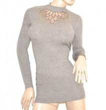 MAGLIONE beige tortora donna maxi pull maglietta manica lunga velato strass Pullover G9