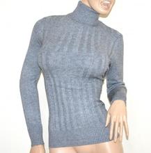 MAGLIONE GRIGIO collo alto donna manica lunga maglietta dolcevita pullover G2