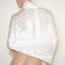 MAXI STOLA donna BIANCO AVORIO sposa 100% SETA foulard da cerimonia coprispalle scialle elegante abito da sera E10