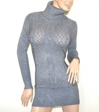 MINI ABITO MAXI PULL GRIGIO donna vestito collo alto dolcevita manica lunga G10