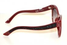 OCCHIALI da SOLE donna rossi lenti ovali strass brillantini neri sunglasses uv400 G1