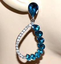 ORECCHINI argento cristalli azzurri donna strass pendenti ragazza earrings G34