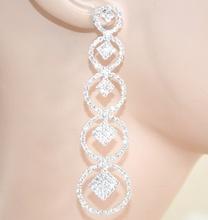 ORECCHINI argento strass pendenti cerchi donna cristalli eleganti cerimonia L15