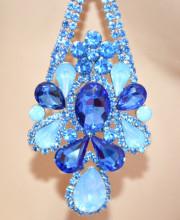 ORECCHINI BLU AZZURRO CELESTI donna Cristalli gocce Strass pendenti eleganti aretes brincos N82