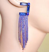 ORECCHINI BLU donna cristalli multi fili pendenti strass oro cerimonia long blue earrings S52