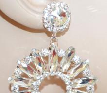 ORECCHINI cerchi donna ARGENTO cristalli trasparenti strass pendenti eleganti sposa N12