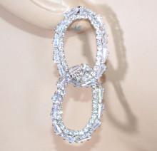 ORECCHINI donna argento cerchi ovali anelli strass cristalli brillanti sposa crystal earrings D12