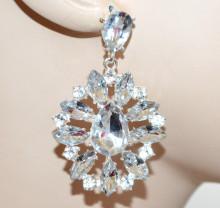 ORECCHINI donna argento cristalli trasparenti fiori pendenti strass eleganti boucles BB60
