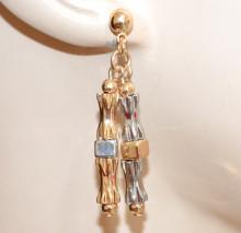 ORECCHINI donna ARGENTO ORO dorato pendenti ciondoli cubo zigrinati eleganti scarff G40