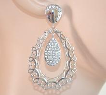 ORECCHINI donna ARGENTO pendenti STRASS BIANCHI cristalli brillantini 970