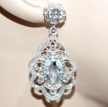 ORECCHINI donna argento platino cristallo trasparente pendenti strass earrings CC71